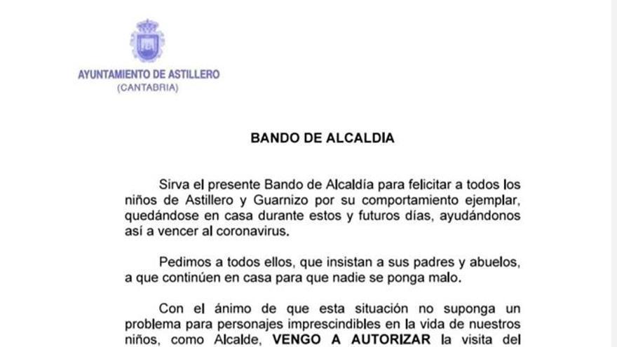 Bando municipal del Ayuntamiento de Astillero.