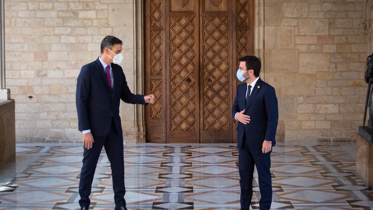 Pedro Sánchez y Pere Aragonès se vieron en el Palau de la Generalitat la semana pasada