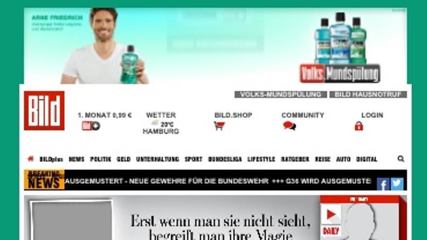 La página web del Bild tampoco llevaba fotos.