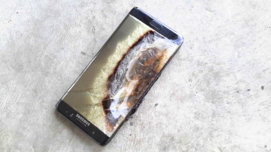 Un Samsung Galaxy Note 7 quemado