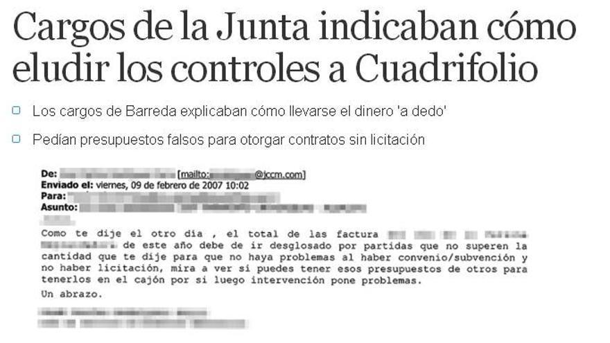 Captura del correo publicado el día 7 de mayo por el diario El Mundo