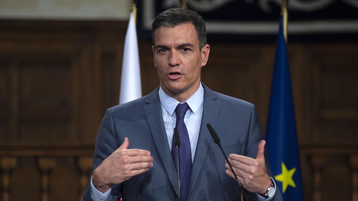 El presidente del Gobierno, Pedro Sánchez, durante la Cumbre hispano-polaca, el 31 de mayo en Alcalá de Henares, Madrid (España)