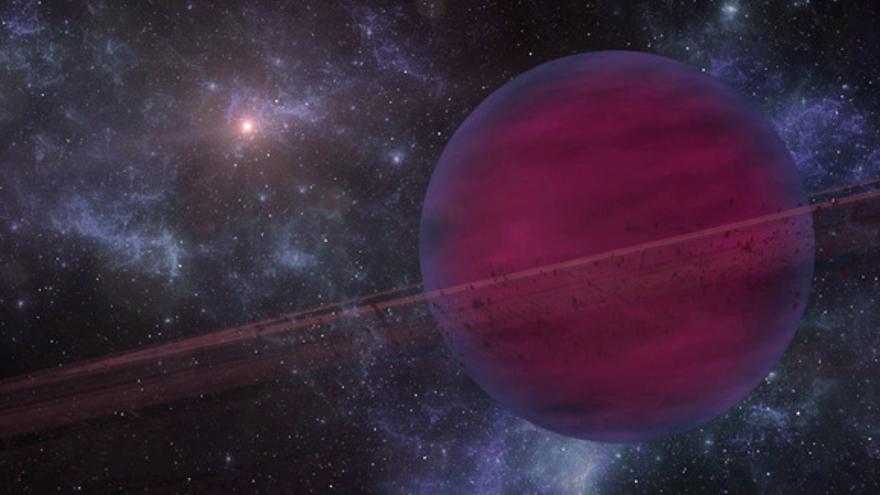 Fotograma de la animación artística del exoplaneta VHS 1256b con su estrellla enana roja de fondo. Créditos: Gabriel Pérez (SMM, IAC).