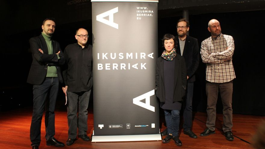 Pablo Berástegui, José Luis Rebordinos, Ane Rodríguez Armendariz, Josemi Beltrán y Joxean Fernández durante la presentación.