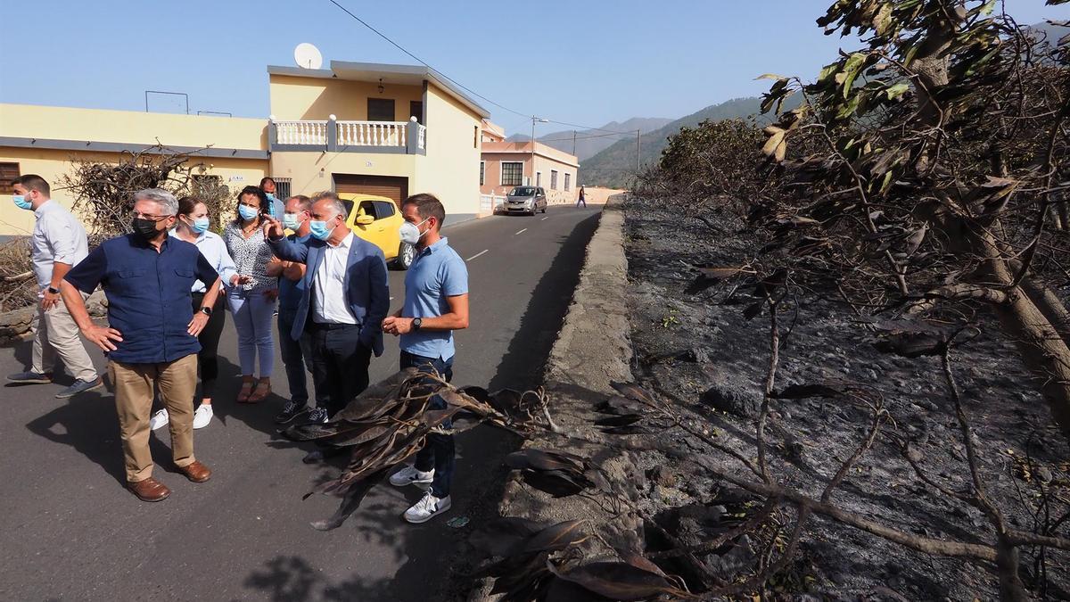 El presidente de Canarias, Ángel Víctor Torres (2d), junto al consejero regional de Seguridad, Julio Pérez, y el presidente del Cabildo de La Palma, Mariano H. Zapata (d), visitando la zona afectada por el fuego.
