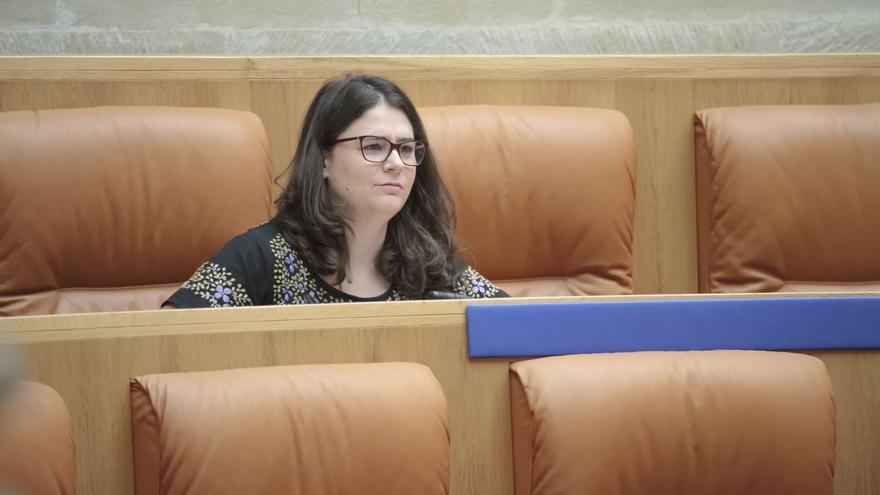 La diputada de Podemos en La Rioja, Raquel Romero, durante la segunda sesión del pleno de investidura