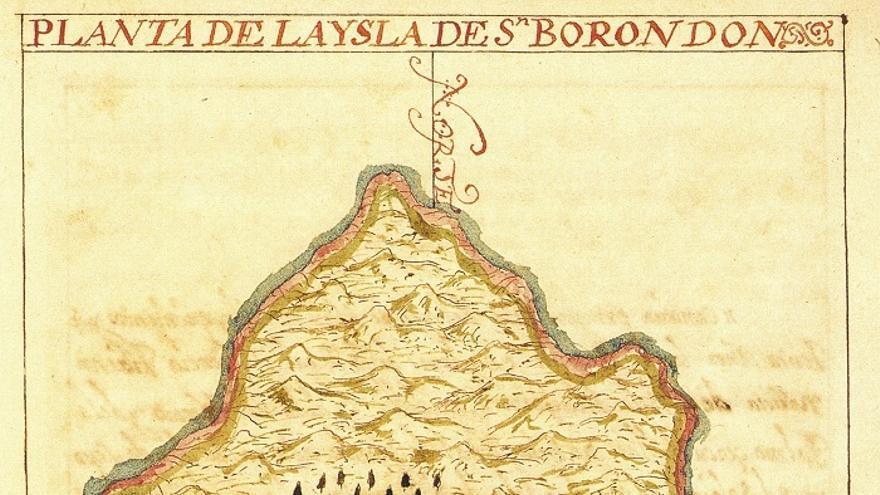 En la imagen, mapa de San Borondón según Pedro Agustín del Castillo (1686).