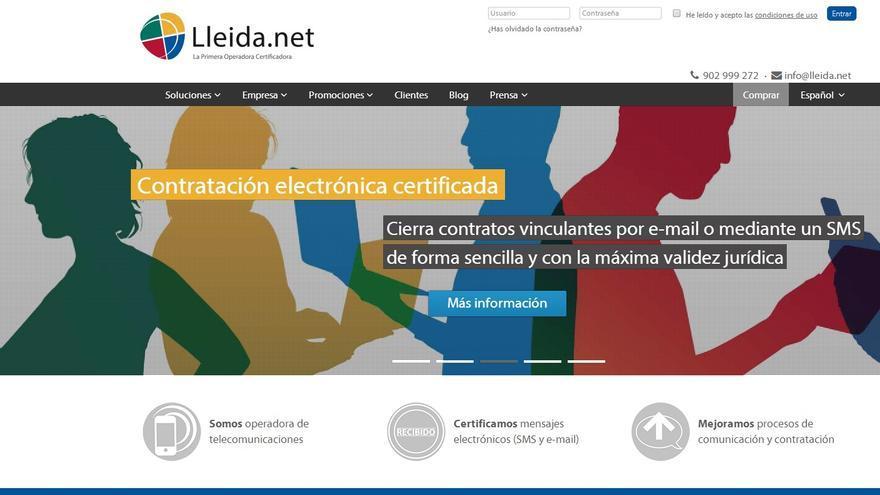 Sitio web de la empesa Lleida.net (captura de pantalla)