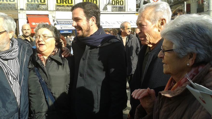 Alberto Garzón, en la Puerta del Sol