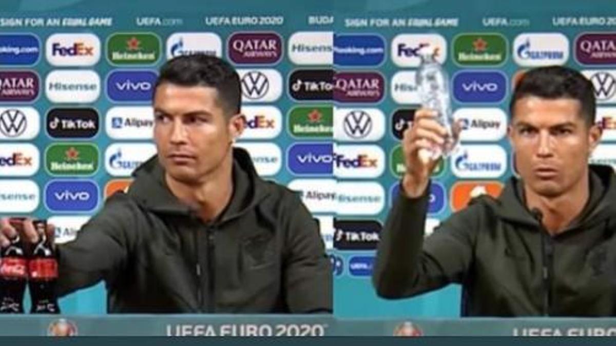 Cristiano Ronaldo cambió dos botellas de Coca Cola por una de agua en una conferencia de prensa durante la Eurocopa.