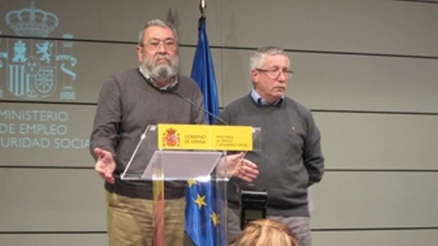 Méndez Y Toxo Tras Reunirse Con La Ministra De Empleo