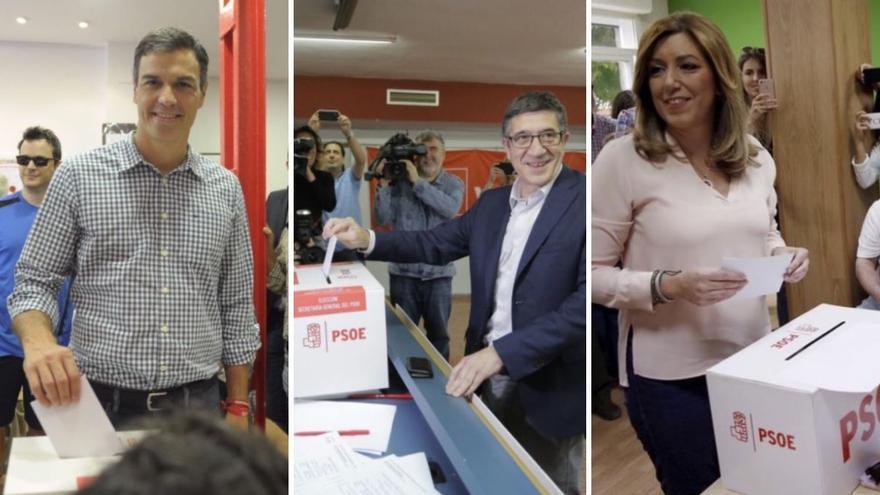 Pedro Sánchez, Patxi López y Susana Díaz depositan su voto para las primarias del PSOE.