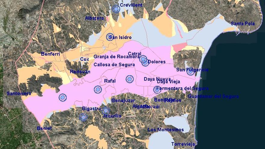 Mapa de riesgo de inundaciones en la comarca de la Vega Baja
