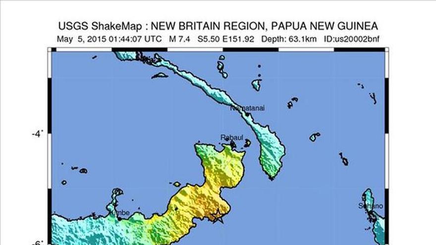 Dos terremotos de 7,4 y 5,9 grados sacuden el este de Papúa Nueva Guinea