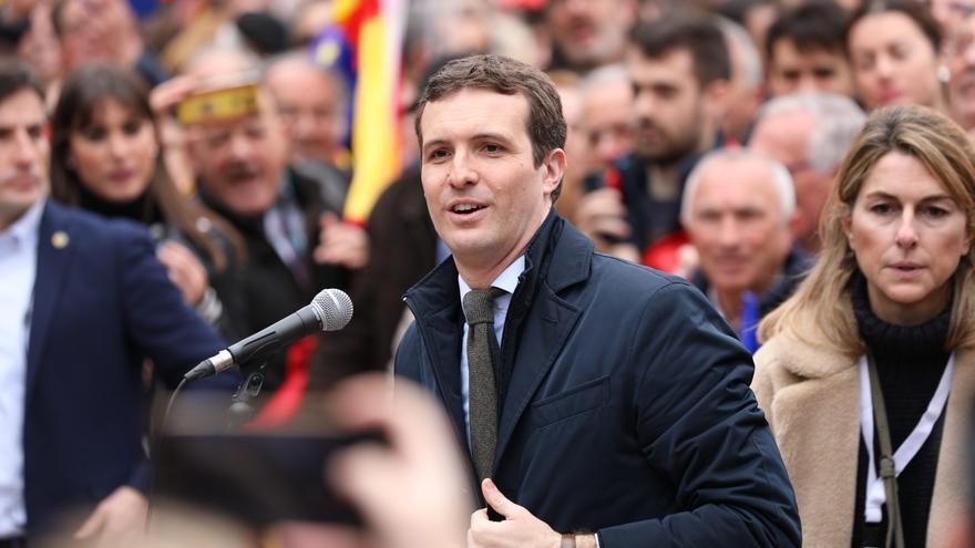 El presidente del PP, Pablo Casado, en la manifestación de este domingo en Colón (Madrid).