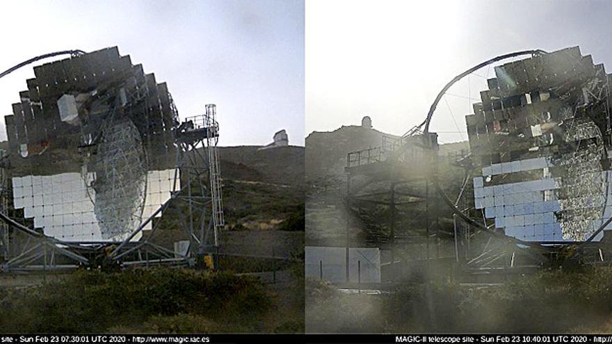 Imagenes del Telescopio MAGIC II captadas a las 07.30y las 10.40 horas  de este domingo, 23 de febrero, de la webcam de los MAGIC.