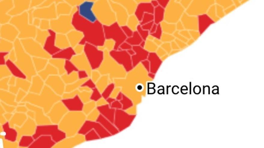 Mapa del área metropolitana de Barcelona, que pasa a ser rojo PSC y amarillo ERC