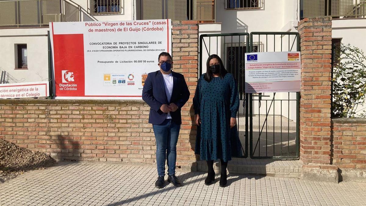 La delegada de Asistencia Económica con los Municipios y Mancomunidades de la Diputación provincial, Dolores Amo, en su visita a El Guijo.
