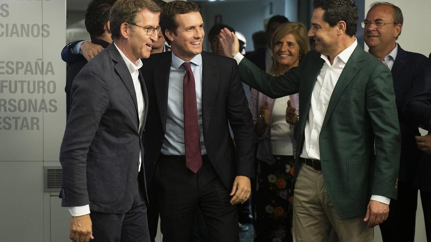 Feijóo, Casado y Moreno durante el Comité Ejecutivo Nacional del PP del lunes.