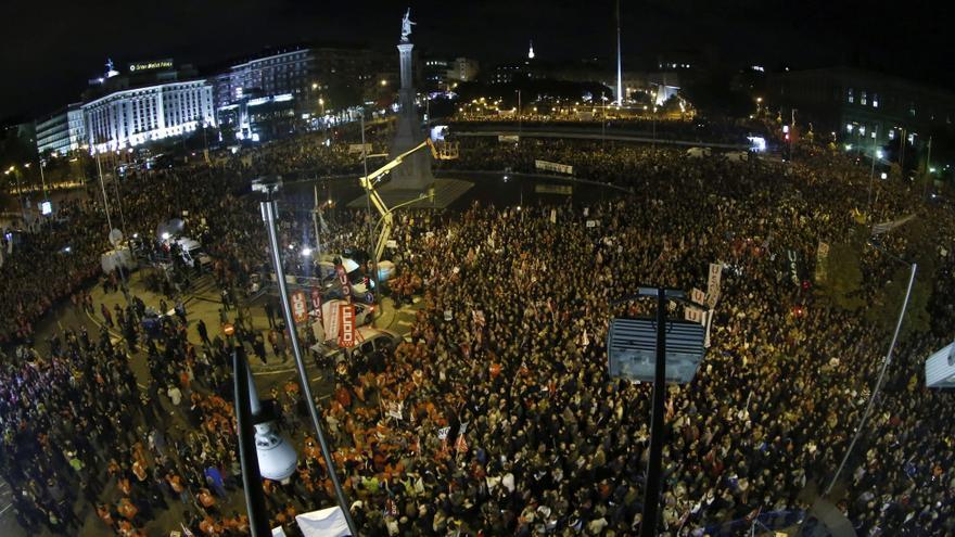 La manifestación acaba su marcha en la plaza de Colón