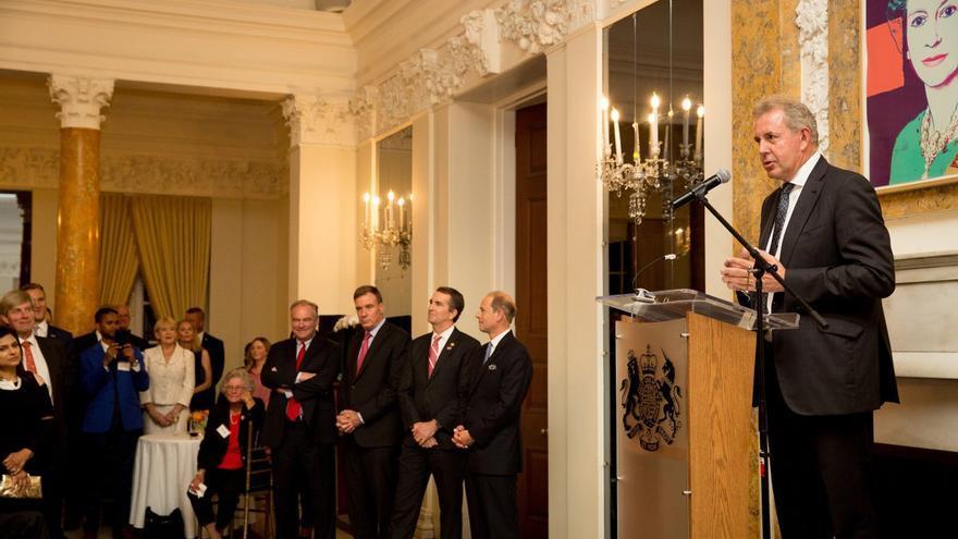 El hasta ahora embajador de Reino Unido en EEUU, Kim Darroch, durante un acto en la embajada en Washington.