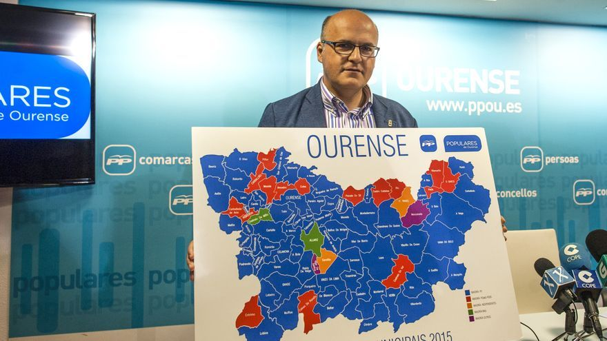 Baltar, con su mapa teñido de azul PP