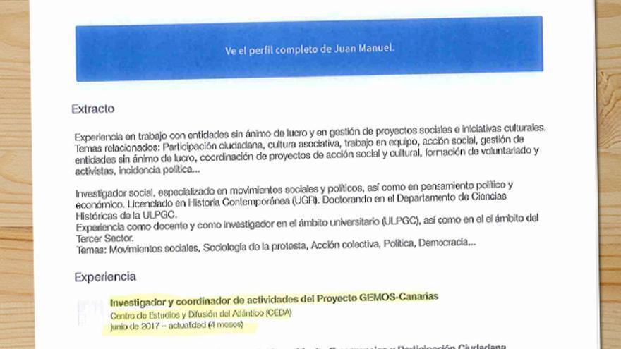 Perfil de Linkedin de Juan Manuel Brito donde aparece como investigador del Proyecto Gemos