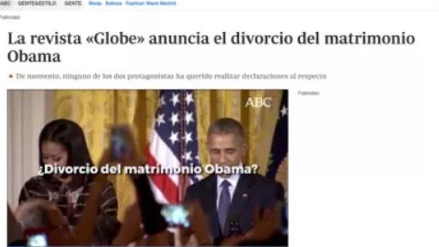 Nota en ABC sobre el supuesto divorcio de los Obama.