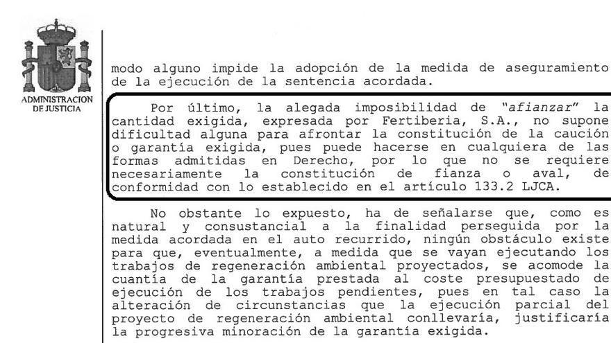 El auto entiende que Fertiberia no tiene excusas legales para no afrontar el pago de la fianza.