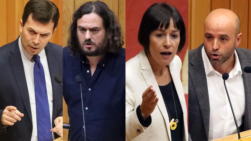 Gonzalo Caballero, Antón Sánchez, Ana Pontón y Luís Villares, durante el debate