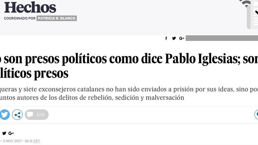 Captura del editorial de El País.
