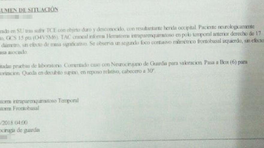 Informe médico del herido en los disturbios de Lavapiés.