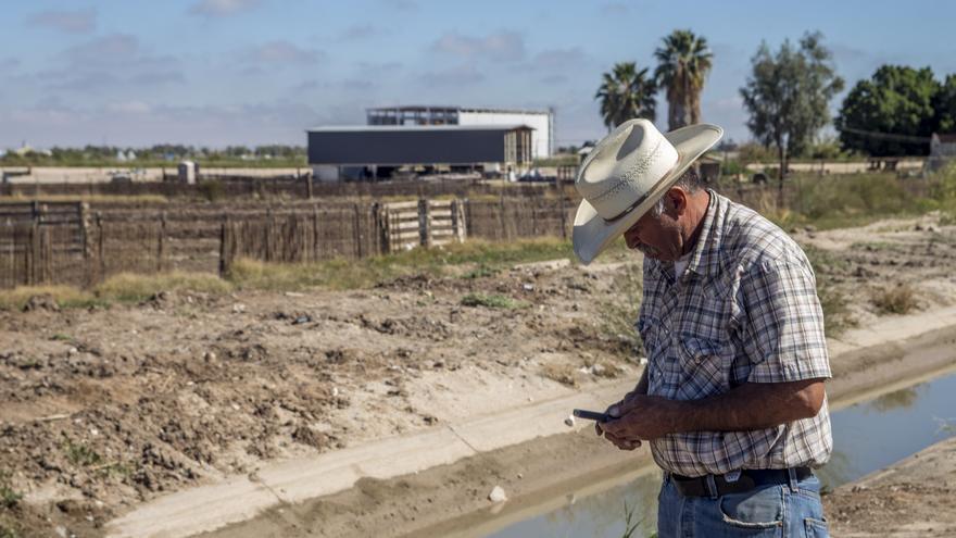 Un agricultor camina frente al terreno donde se está construyendo la fábrica de Constellation Brands / Foto: J.P. Martínez.