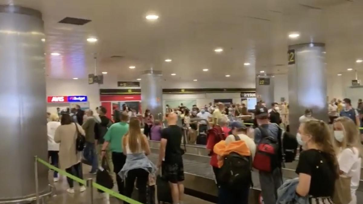 Colas de pasajeros en la zona de recogida de equipaje este miércoles, 8 de septiembre, en el aeropuerto de Gran Canaria