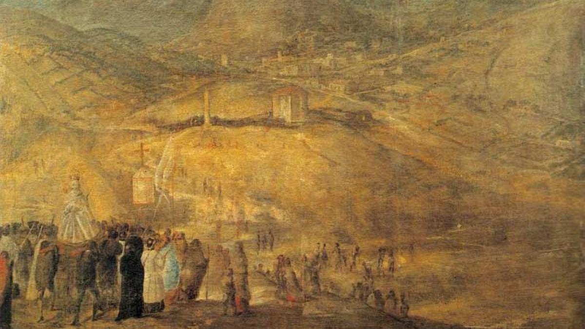 Imagen de la procesión de rogativa para pedir lluvia en Quito (Ecuador) en 1621