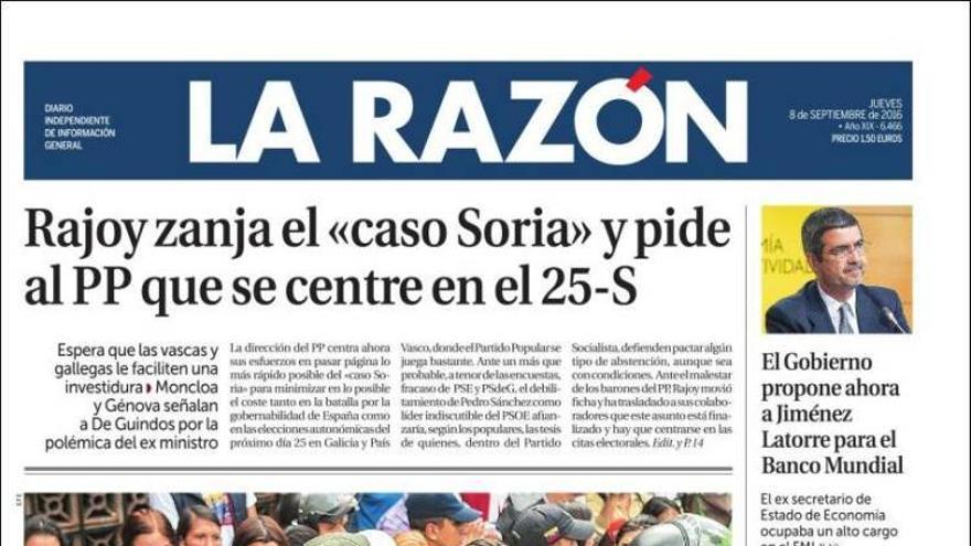Portada de La Razón (8 de septiembre de 2016)