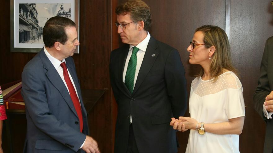 Abel Caballero, Alberto Núñez Feijóo y la conselleira Ethel Vázquez, en una imagen de archivo