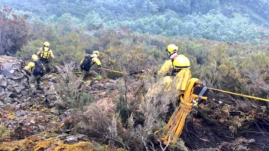 Brigadistas trabajando en un incendio forestal en Cartelle (Ourense)