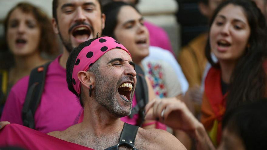 Un manifestante durante el Orgullo Crítico.