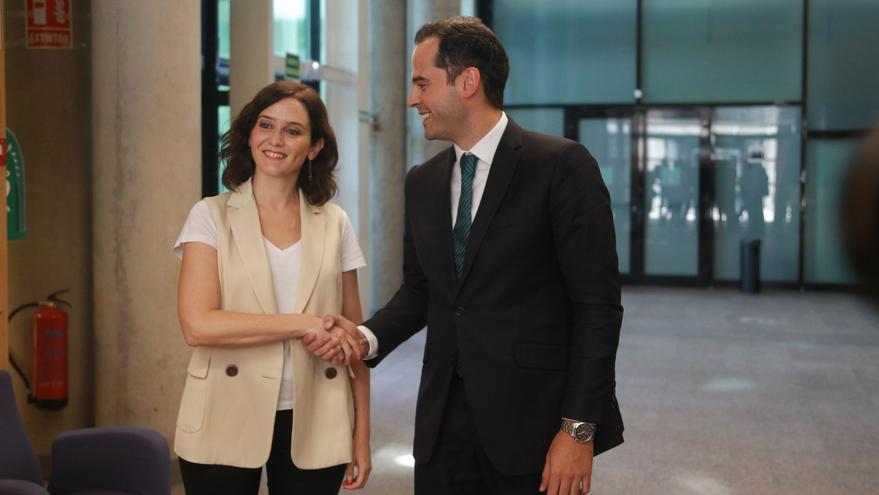 Isabel Díaz Ayuso e Ignacio Aguado en la Asamblea de Madrid. / Ricardo Rubio / Europa Press
