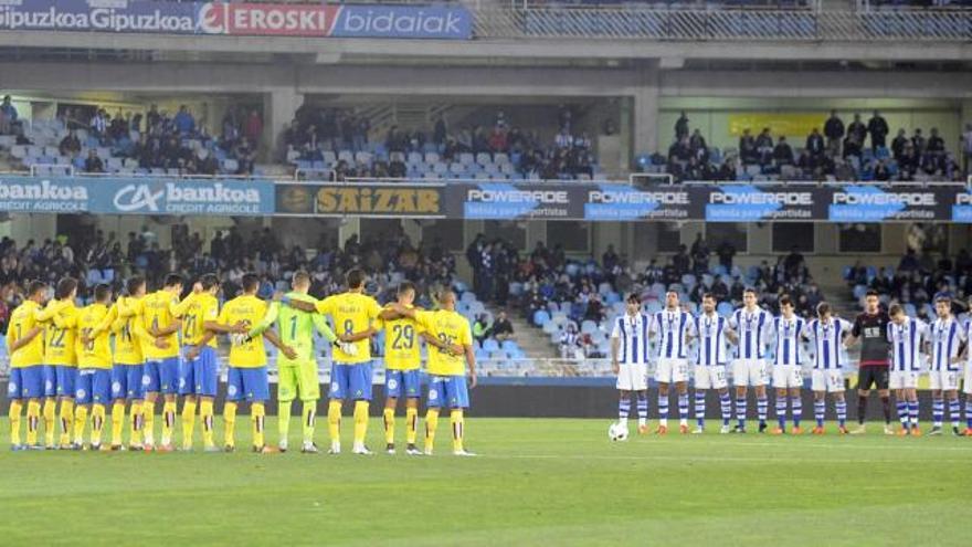 Imagen del partido de Copa del Rey entre la Real Sociedad y la UD Las Palmas en San Sebastián.