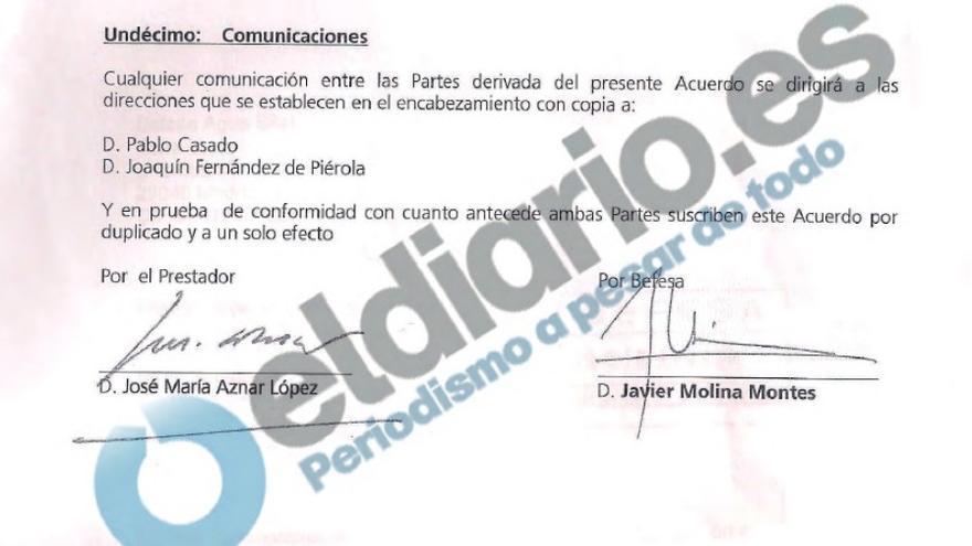 Punto 11 del contrato entre José María Aznar y una filial de Abengoa sobre adjudicaciones en Libia