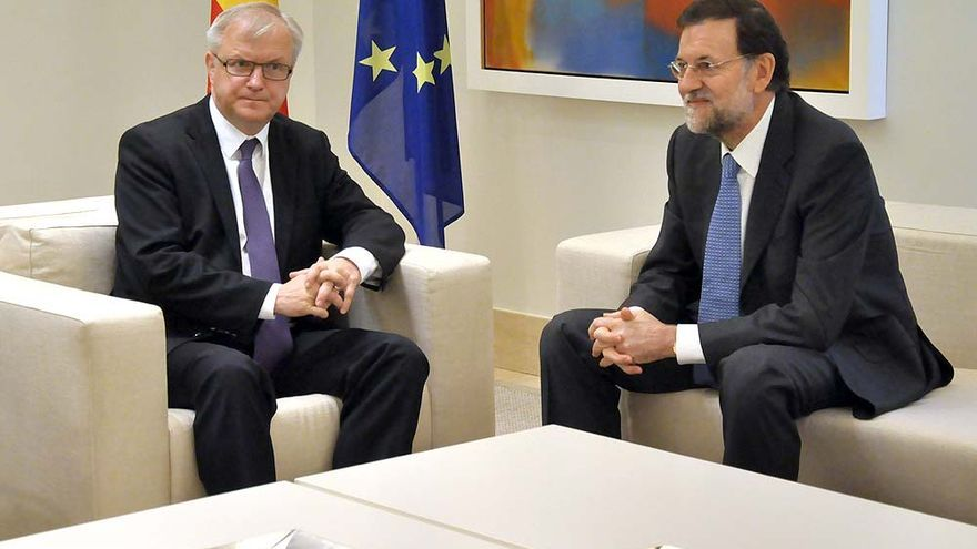 Mariano Rajoy junto al comisario europeo de Asuntos Económicos y Monetarios, Olli Rehn, en su reciente visita a España.