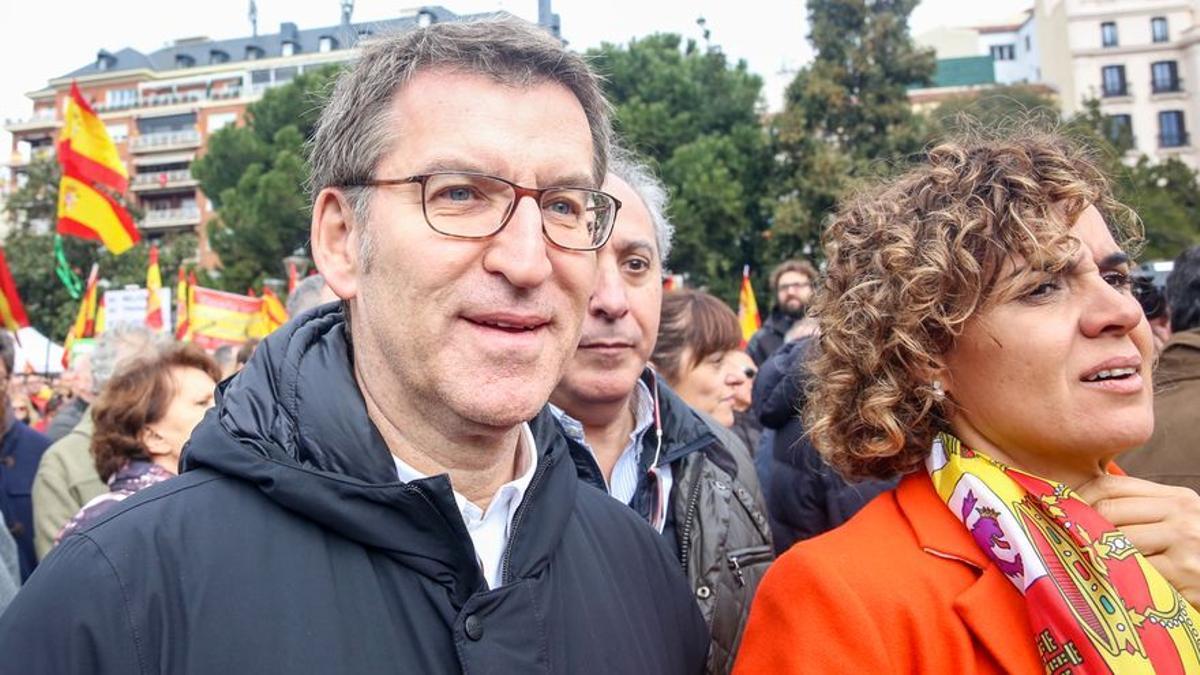 El presidente de la Xunta de Galicia, Alberto Núñez Feijóo, en una manifestación del PP junto a Ciudadanos y Vox en Madrid.