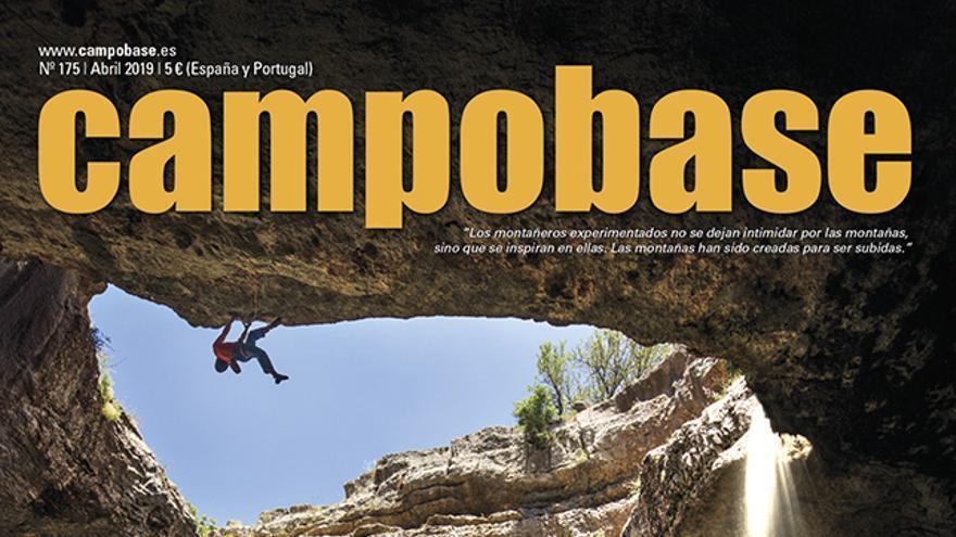 Campobase Nro. 175.abril. David Lama escalando 'Avaatara', en Baatara Gorge (Líbano), y asegurado por Jaad Koury.