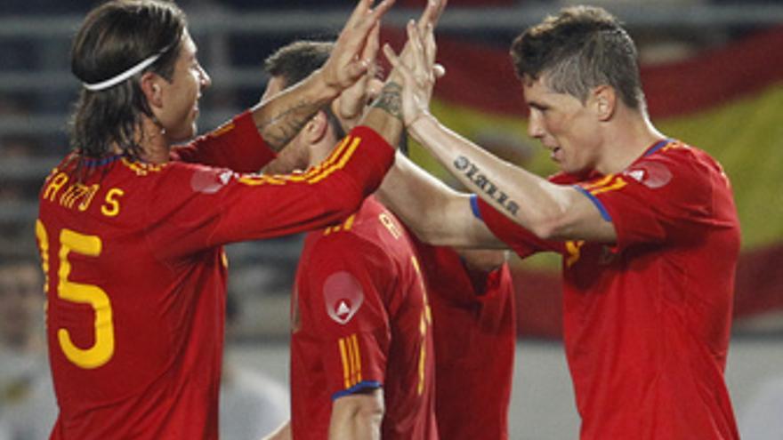 Torres celebra un gol.