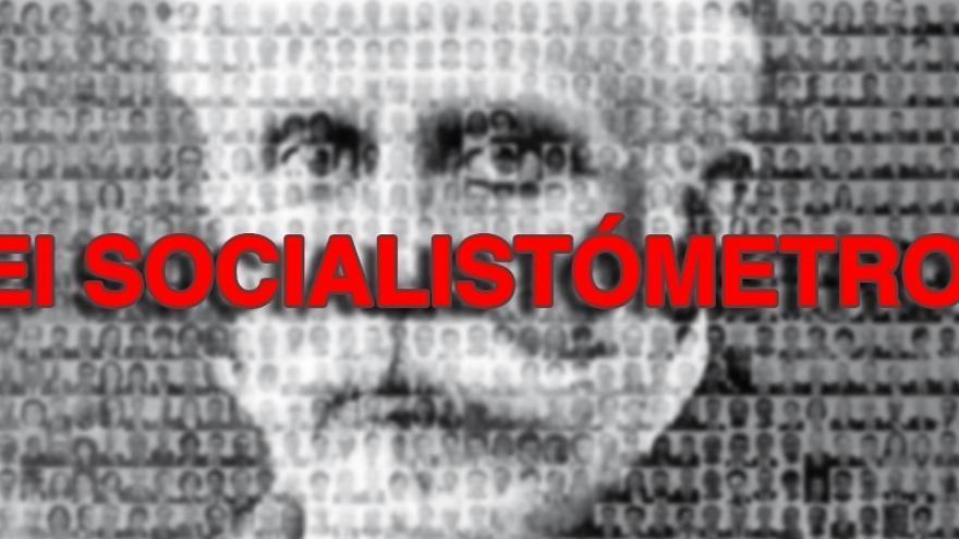 Uno de los flyers del Socialistómetro, con Pablo Iglesias fundido con cientos de hombres socialistas que han formado parte del Congreso de los Diputados.
