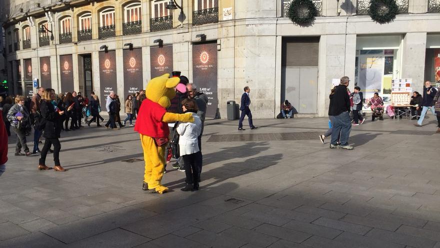 Winnie the Pooh en la plaza del Sol este miércoles