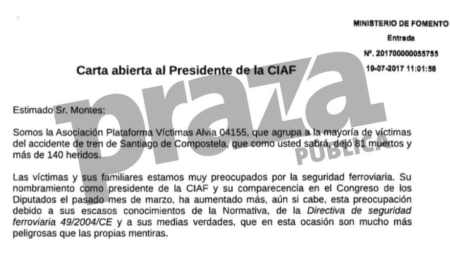 Carta de víctimas del Alvia a la Comisión de Investigación de Accidentes Ferroviarios (CIAF) de Fomento