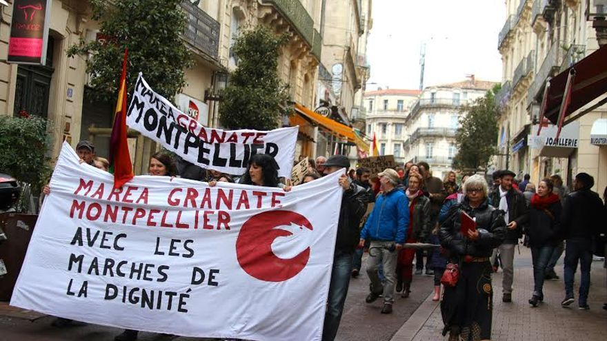 Manifestación de Marea Granate en apoyo a las Marchas de la Dignidad en Montpellier (Francia), 21/3/15
